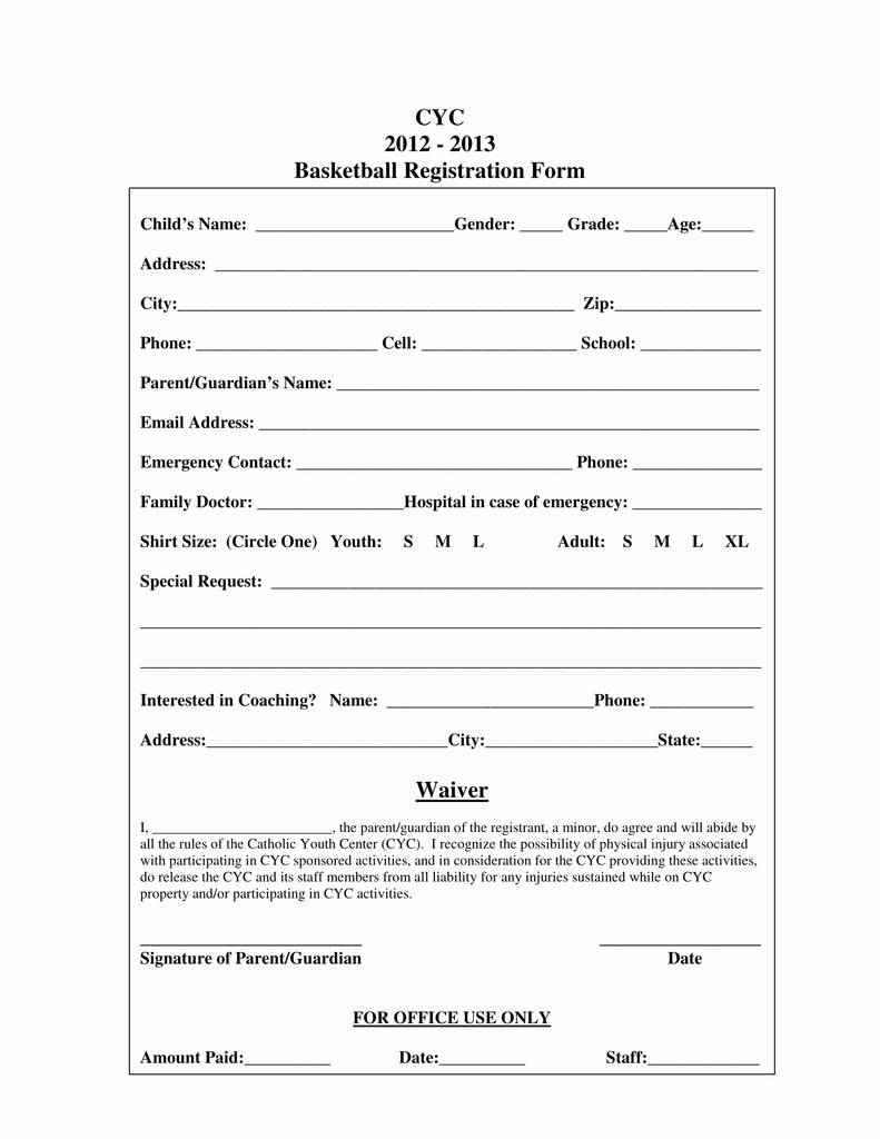 3 On Basketball Tournament Registration Form Template Best Of Sample Resume