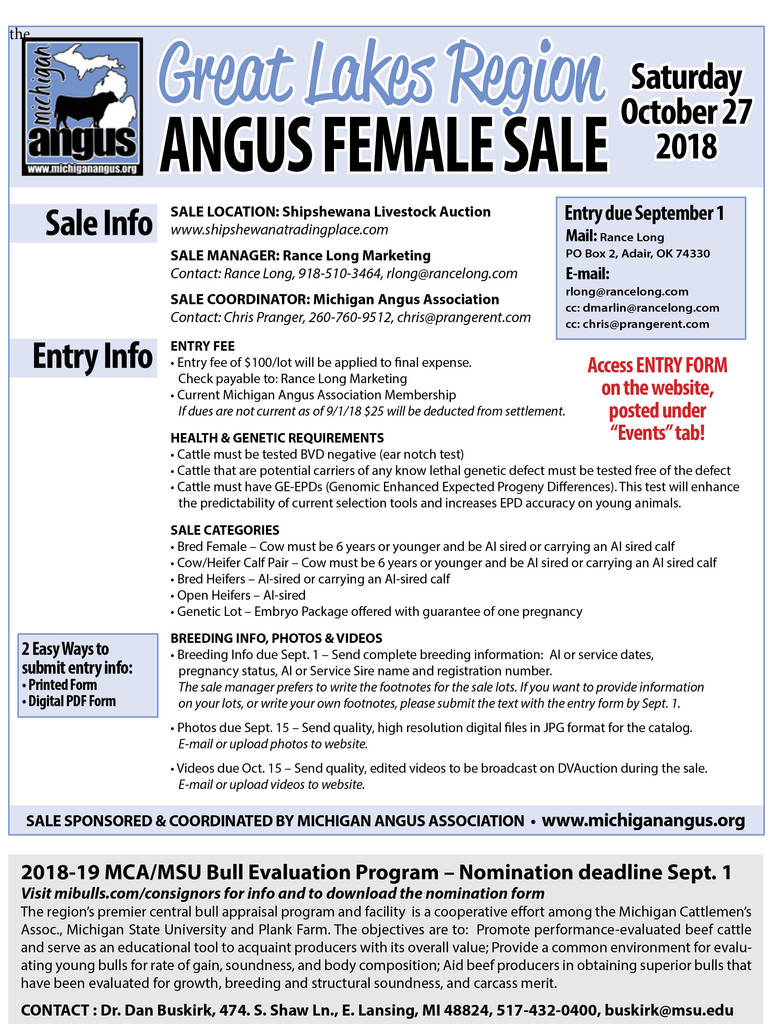 American Angus association Registration forms Elegant Great Lakes Region Angus Female Sale Michigan Angus