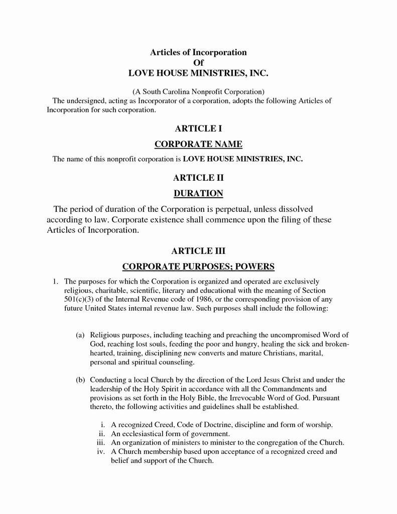 Articles Of Incorporation north Carolina form Lovely Articles Incorporation Maryland Template Inspirational Llc