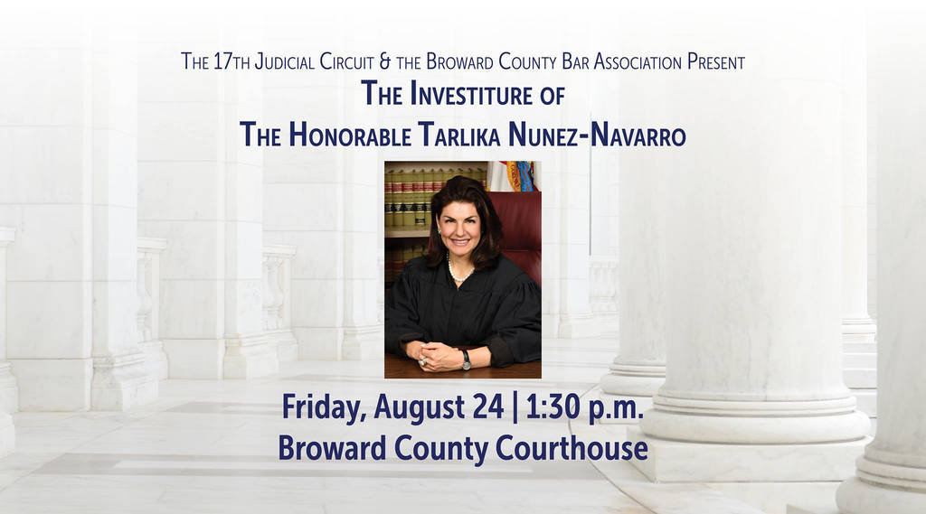 Bar association Full form Elegant Investiture Of the Honorable Tarlika Nunez Navarro Broward County