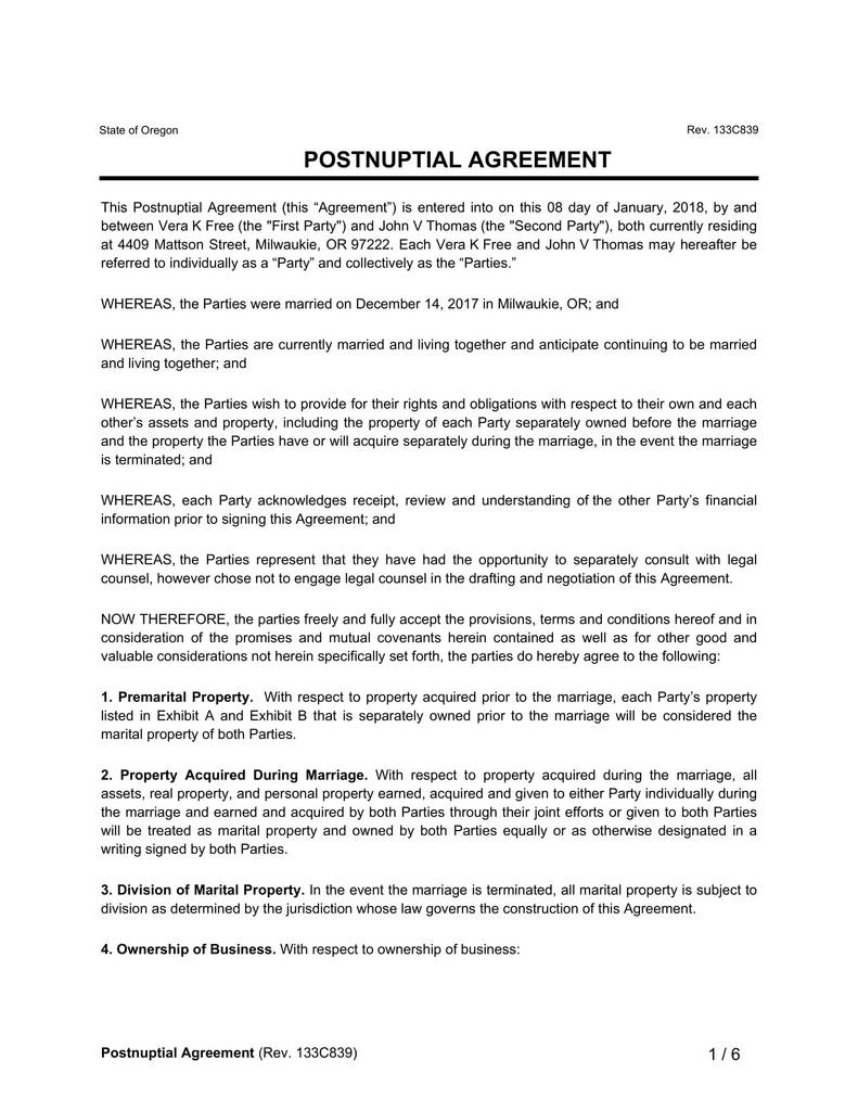 Blank Prenuptial Agreement form Elegant Postnuptial Agreement form Mersnoforum