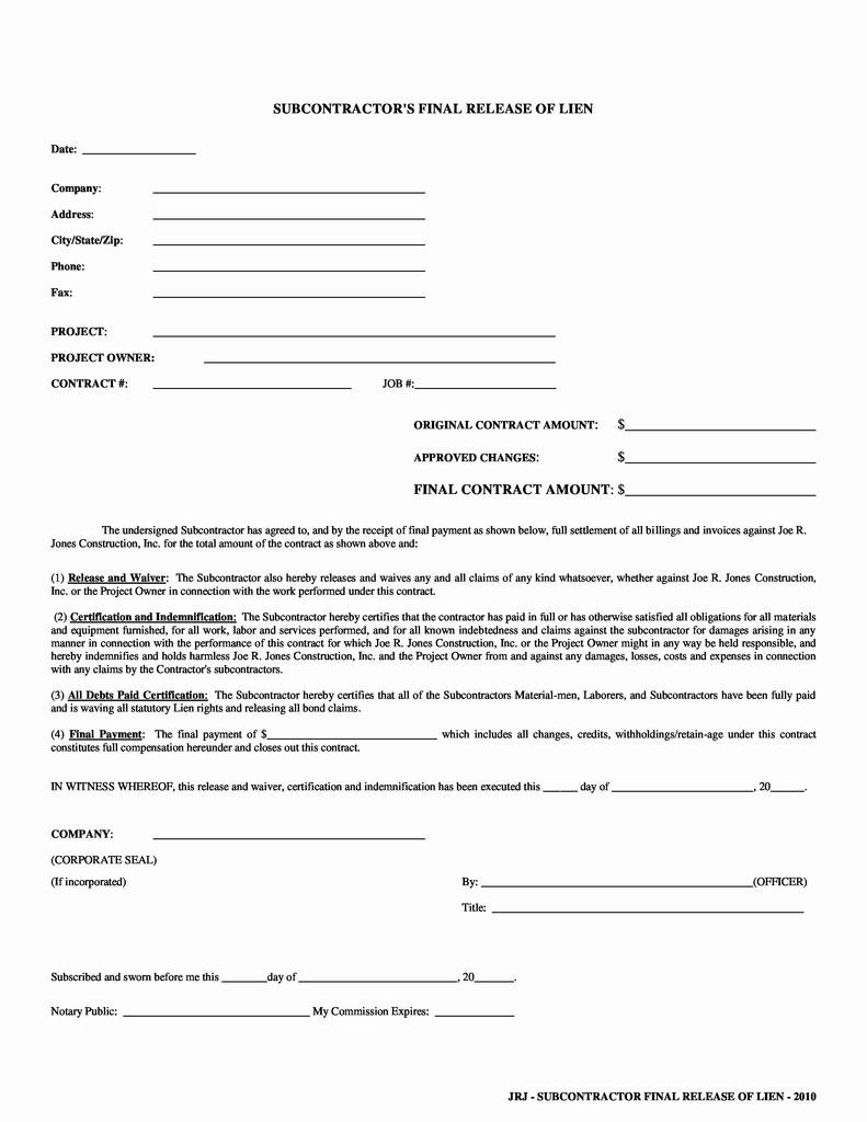 Conditional Lien Release Form Washington State Awesome Final Waiver