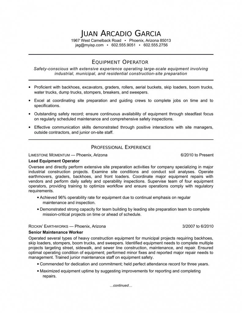 Construction Equipment Inspection form Awesome Heavy Equipment Operator Resume Examples — Resumes Project