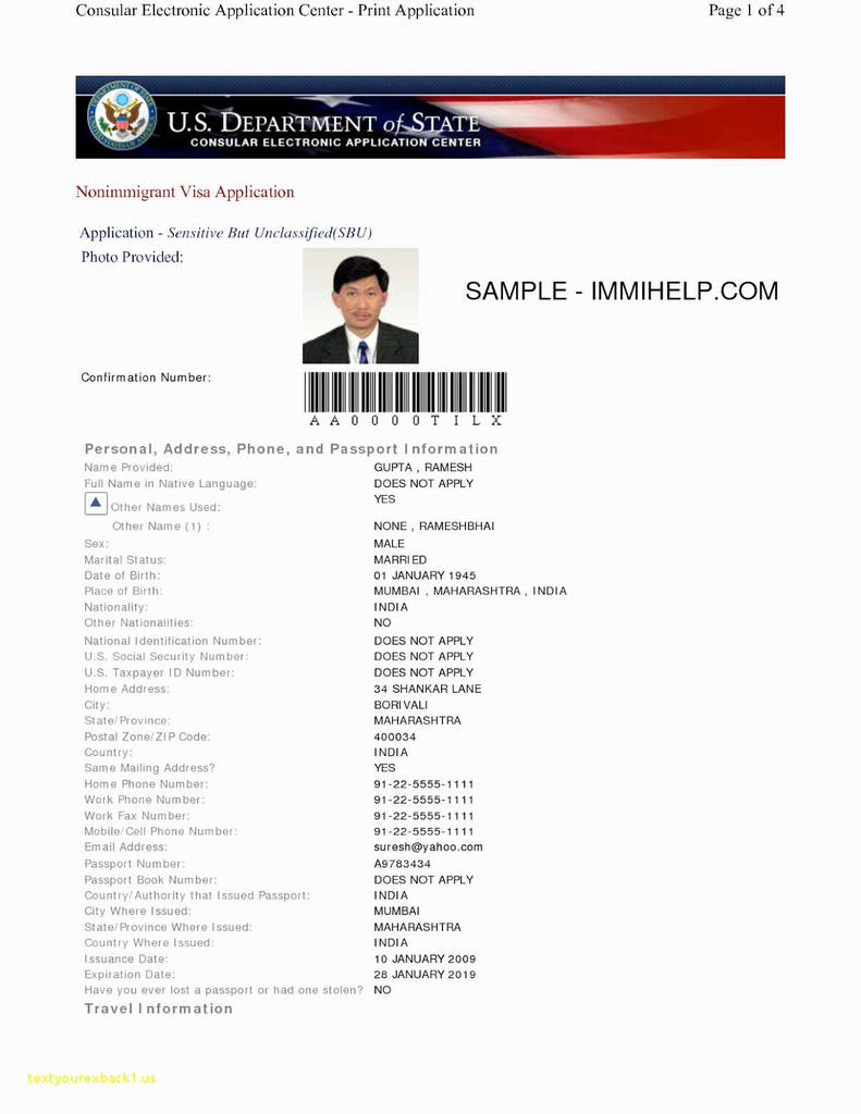 Ds 64 Passport form Beautiful Ds 160 form India form Ds 160 India Sample Collegepond 2 791