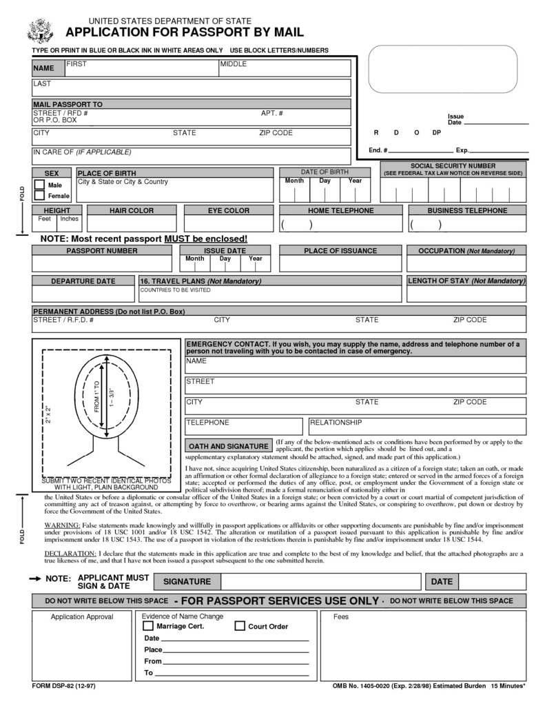 Ds 64 Passport form Lovely Passport Application form Design Templates