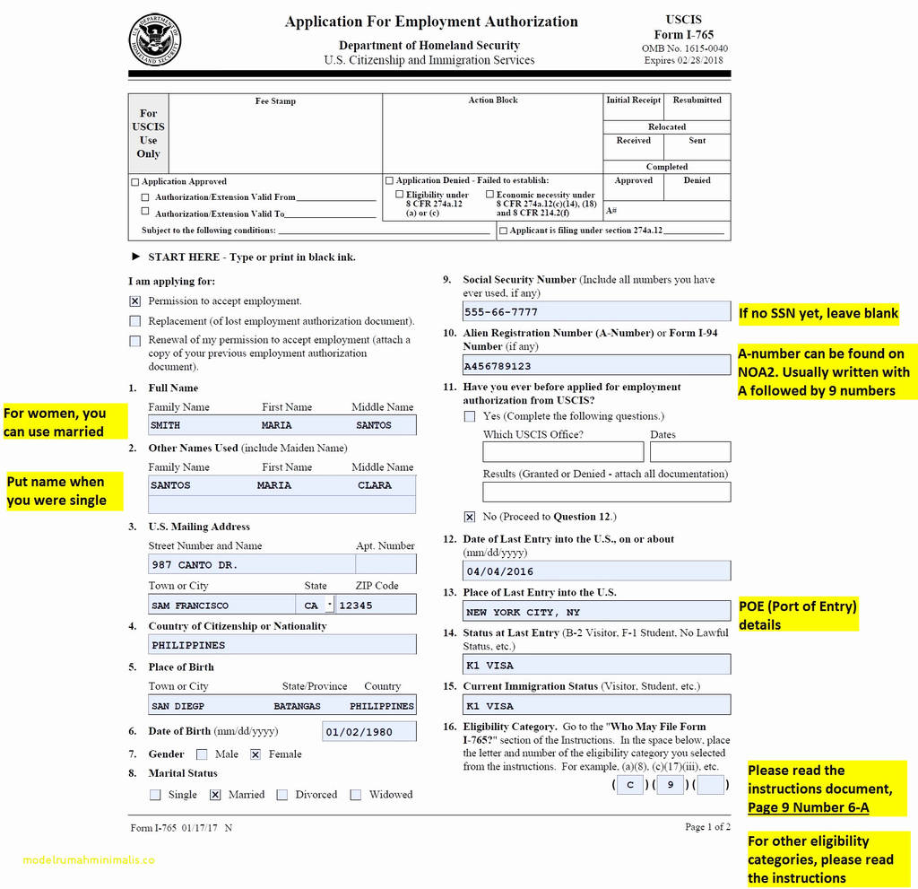 84+ Sample I130 - Sample Filled Form I 130, FORM 130