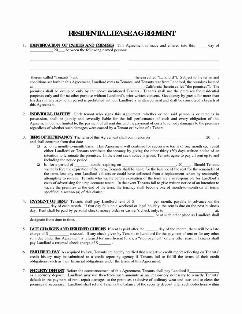 Free Indiana Residential Lease Agreement form Beautiful 50 Unique Free Printable Residential Lease Agreement form