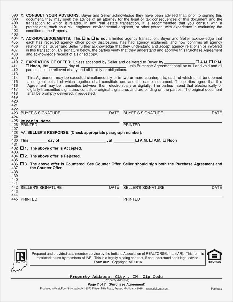 Free Indiana Residential Lease Agreement form Best Of Indiana Real Estate Purchase Agreement form Free Elegant 53