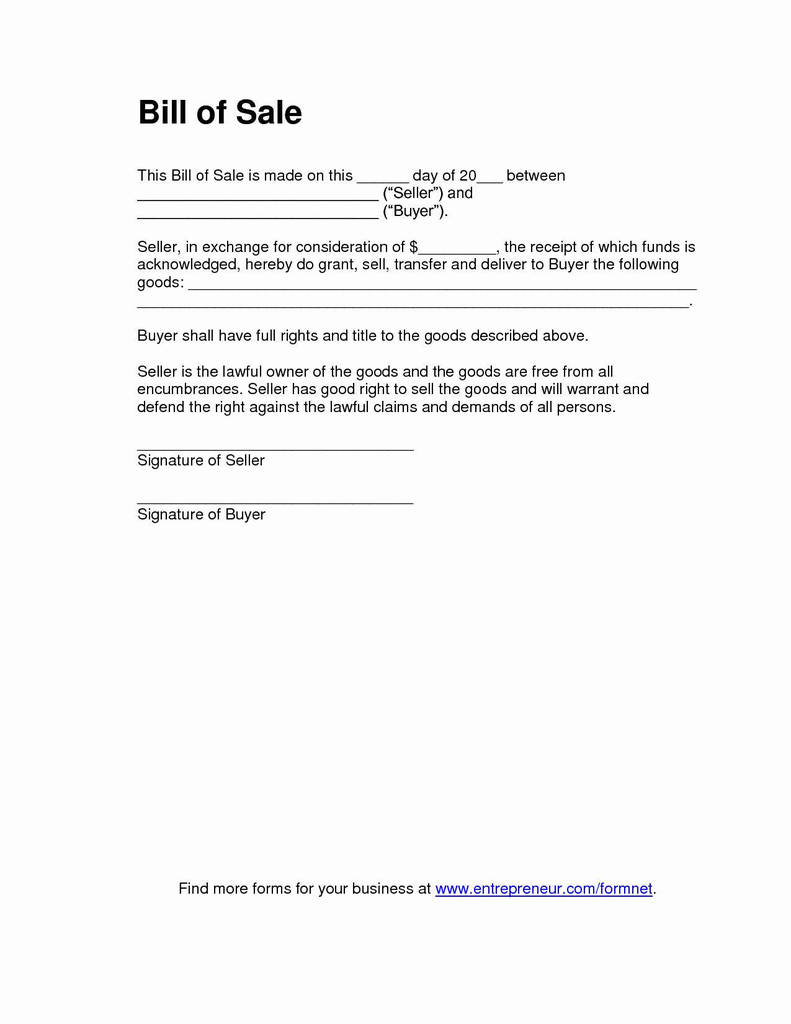 illinois vehicle bill of sale form fresh business bill sale template