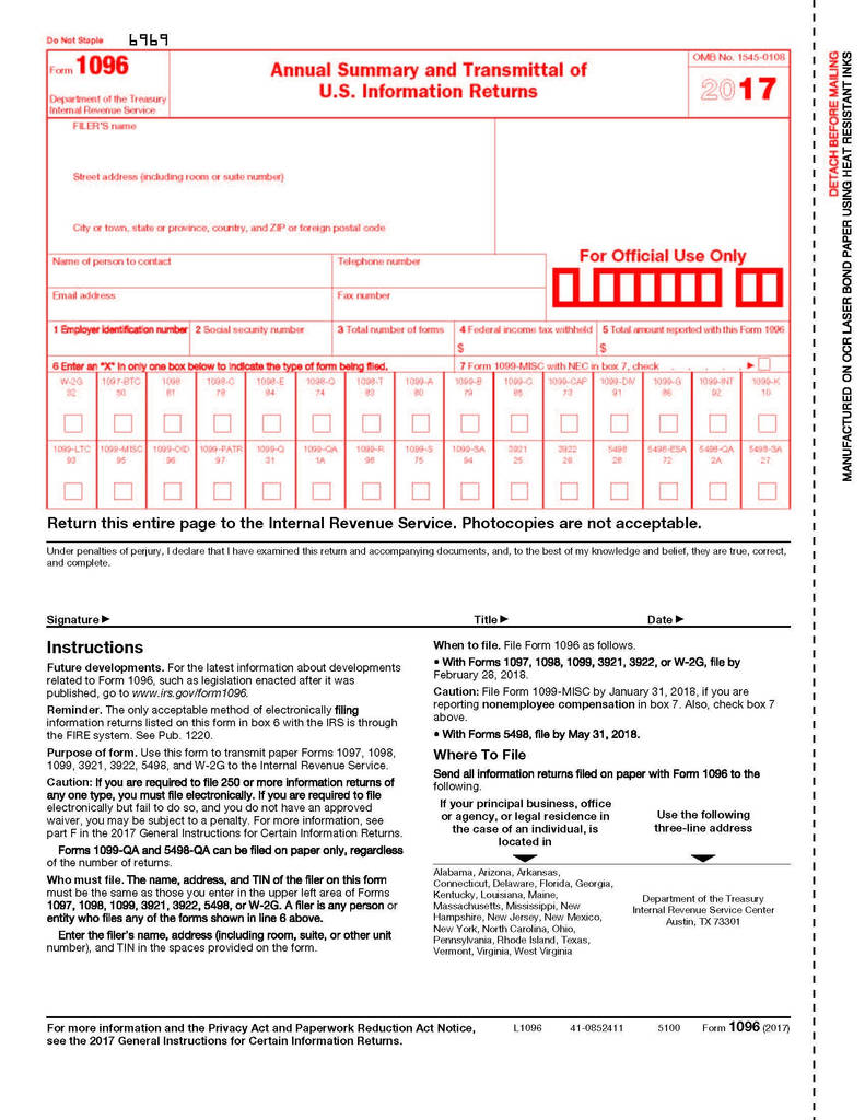 Irs form 1096 for 2017 Beautiful form Part 375