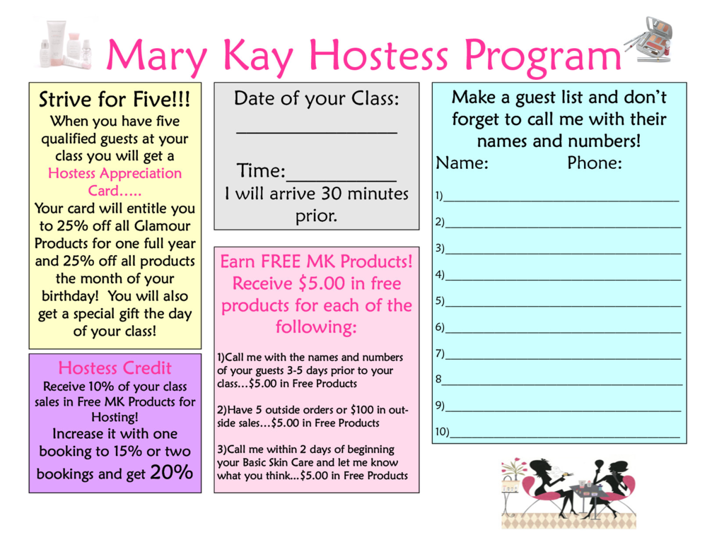 Mary Kay order form Pdf Awesome Mary Kay Hostess Flyer Mary Kay Hostess Program Pdf