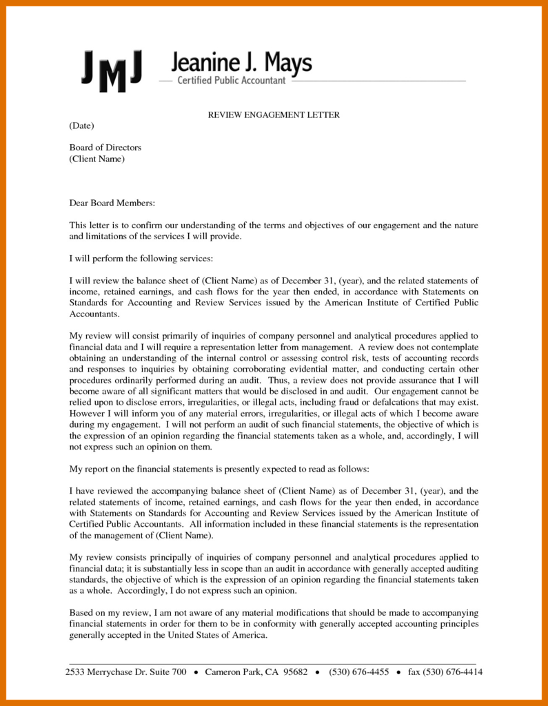 Accounting Services Engagement Letter from www.flaminke.com
