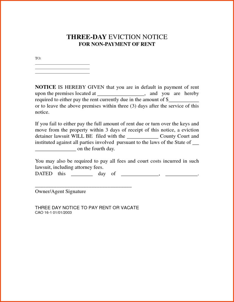 Notice to Pay Rent or Quit form Best Of Eviction Notice Template ...