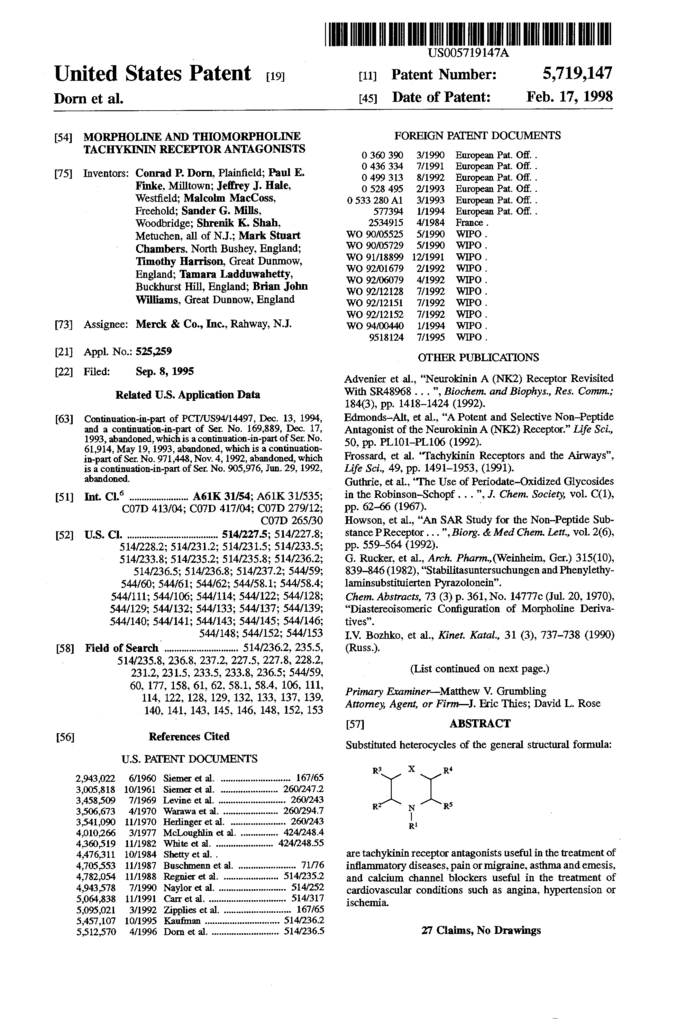 Secretary Of State form 424 Elegant Patente Us Morpholine and Thiomorpholine Tachykinin
