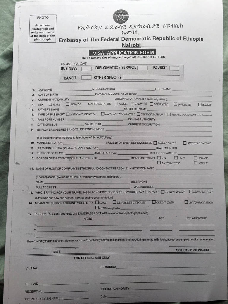 Tanzania Visa Application form Fresh How to Apply for An Ethiopian Visa In Nairobi Pass & Ladle