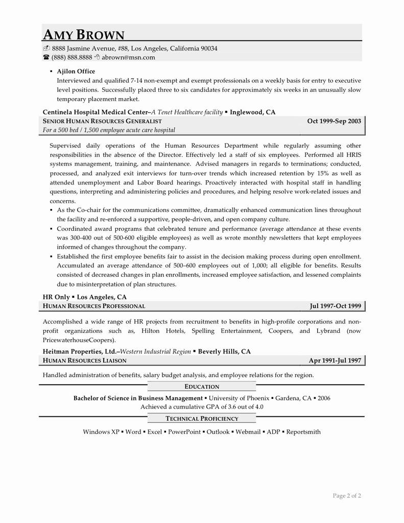 Temporary Health Care Proxy form Fresh Sample Human Resources assistant Resume