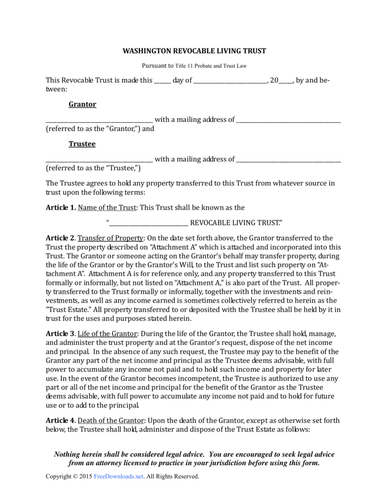 form samples washington revocable living trust pdf rtf word irrevocable nevada forms ny arizona 1600