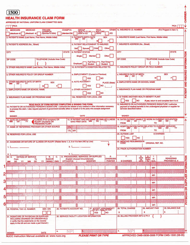 Auto Insurance Claim form Inspirational Hcfa 1500 Claim form Template Unique Auto Insurance Claim form