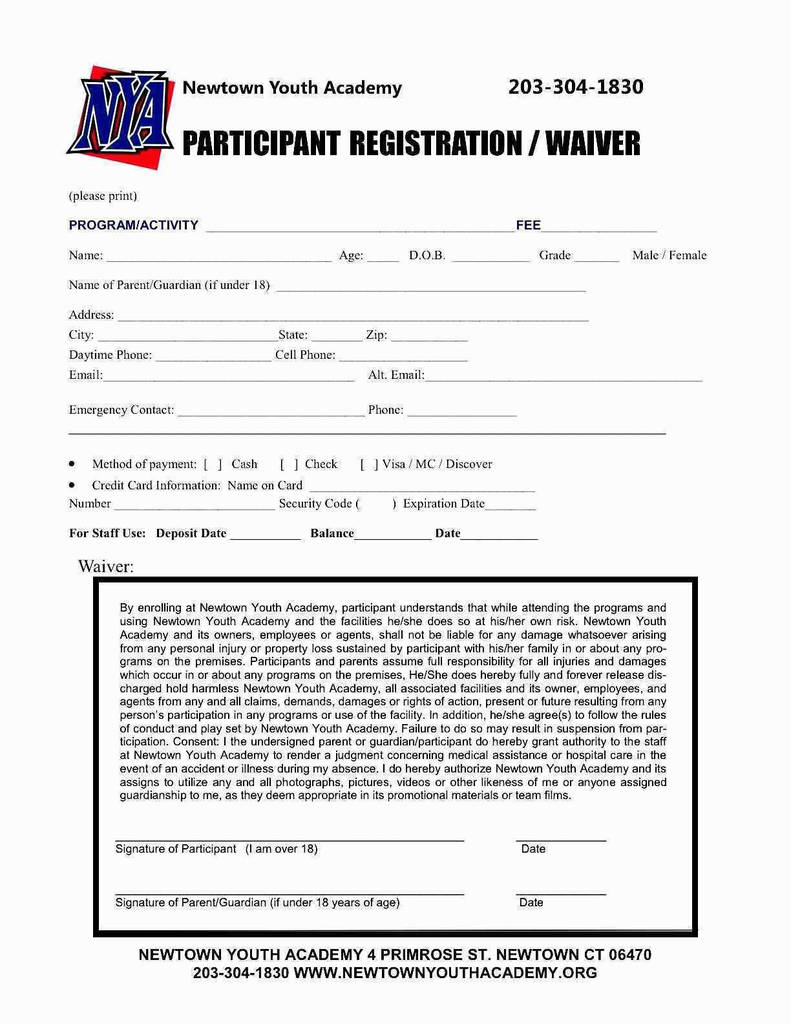 youth sports registration form template unique 44 new free event