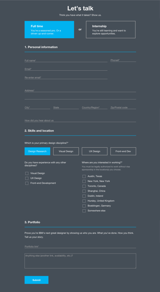 Google form to Trello Fresh Ibm Design S Contact form … Web form