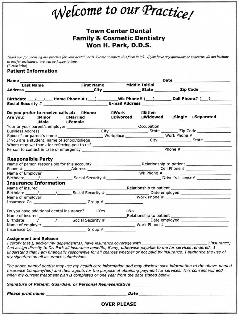 Medical Update form for Dental Office Fresh Patient Information form Templates Fascinating Dental Pdf Word