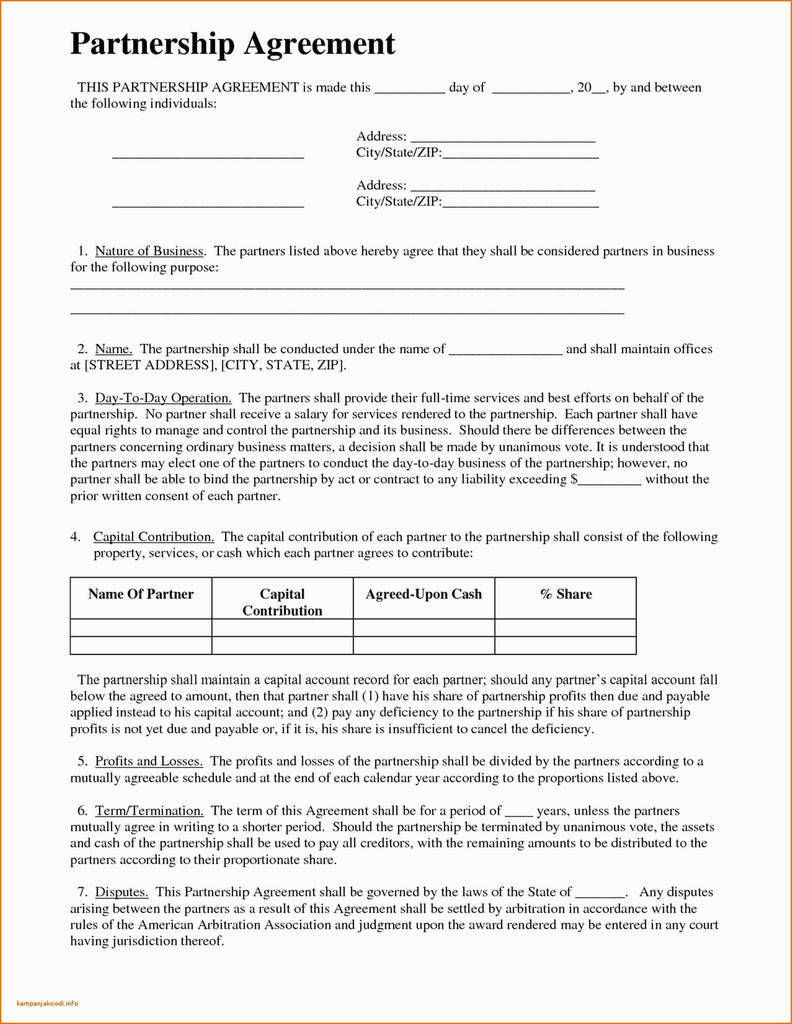 Arbitration Agreement Template New Partnership Agreement Elegant General Partnership Agreement Template