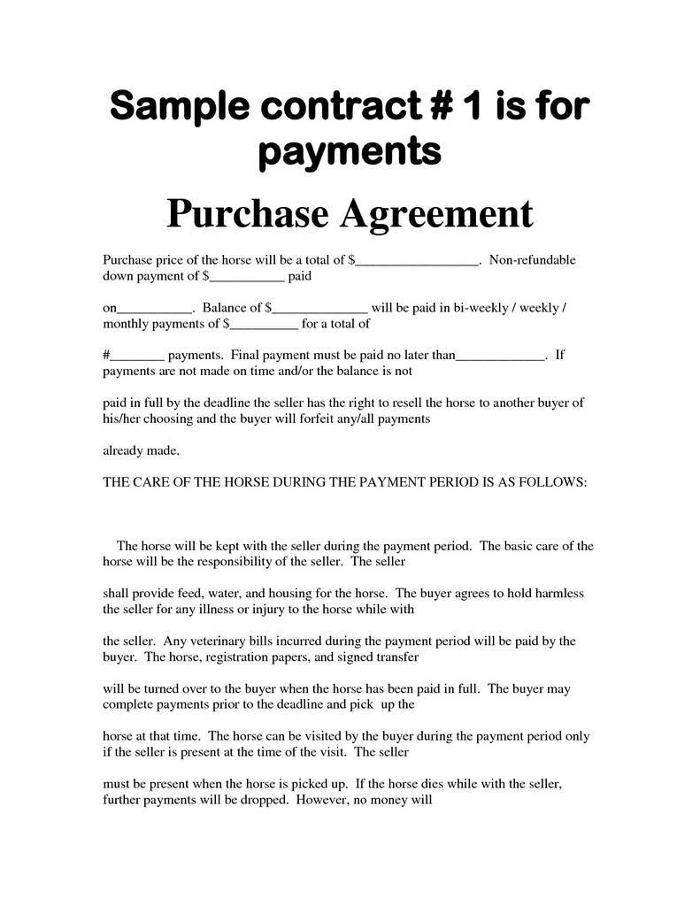 Horse Purchase Agreement Elegant Bill Sale with Payments Template 29 Horse Contract