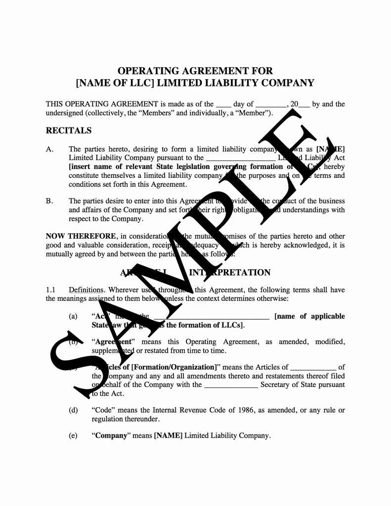Manager Managed Llc Operating Agreement Template Inspirational Member Managed Llc Operating Agreement Template