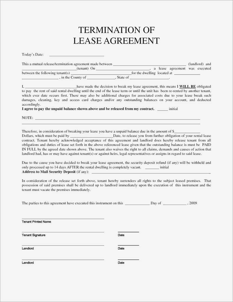 No Lease Agreement What are My Rights New Breaking Lease Letter Best Termination Lease Agreement Sample