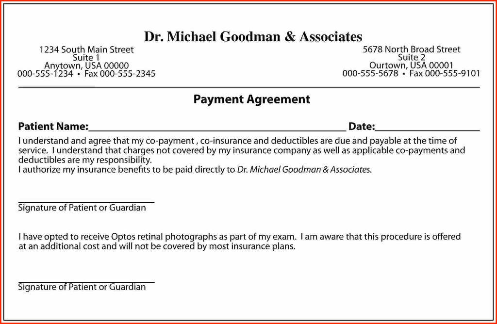Patient Payment Agreement form Elegant Sample Agreement Letter to Pay Lera Mera Business Document Template