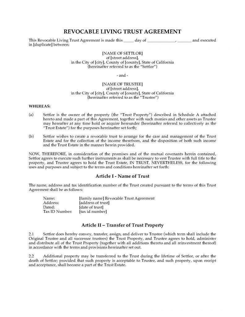 Form Templates Revocable Living Trust Preview Exceptional Hawaii Florida 1400