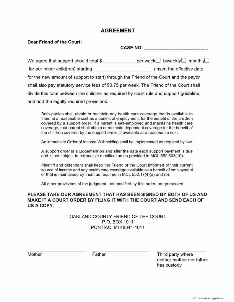 Voluntary Child Support Agreement Letter Between Parents Unique Custody Form