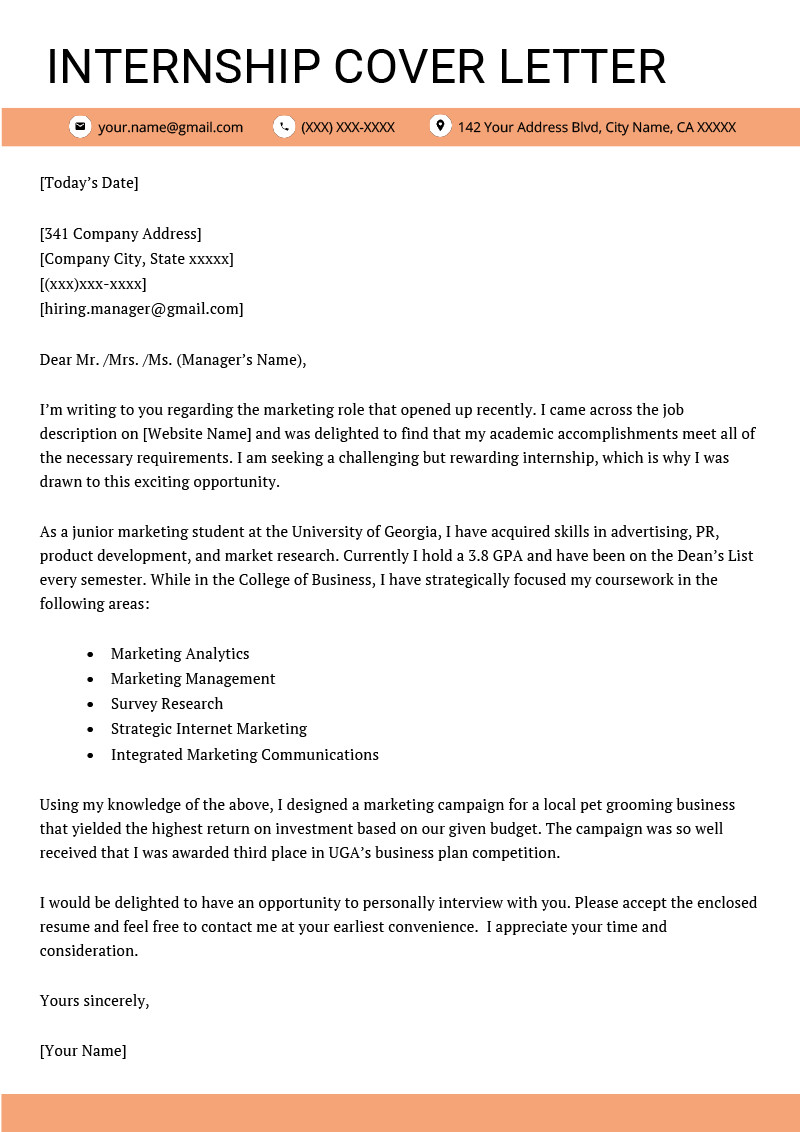 Applicant Tracking form Template Elegant Cover Letter for Internship Example [ 4 Key Writing Tips