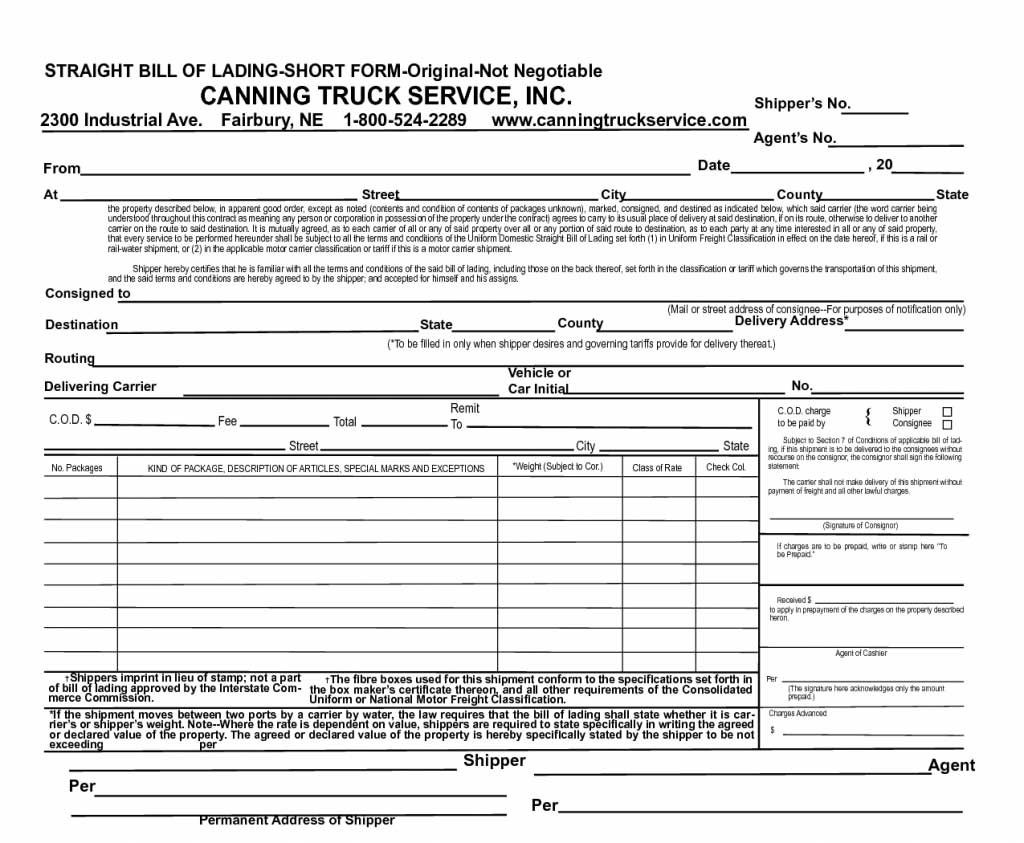 Bill Of Lading Example form Best Of Blank Spreadsheet form 650 535 Straight Bill Lading