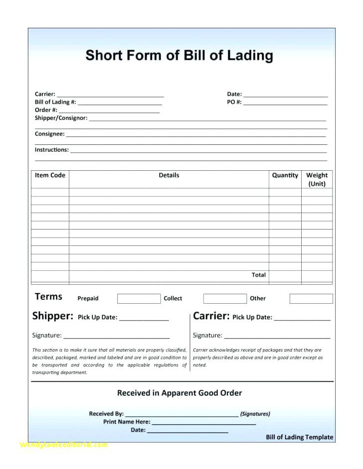 Bill Of Lading Example form Inspirational Generic Bol form Bill Lading – Rafaelfran