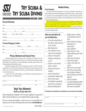 Emergency Medical Card Application form Fresh Try Scuba Training Record Card Ssi Fill Line Printable