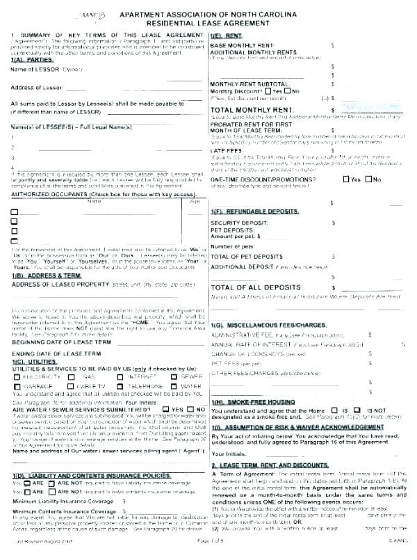 Free Rental Application form Nc Beautiful Easy Lease Agreement Template Free Printable Basic Rental