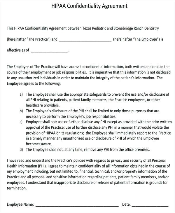 Hipaa Confidentiality form for Employees Beautiful Agreement form for Employees Confidentiality Template Client