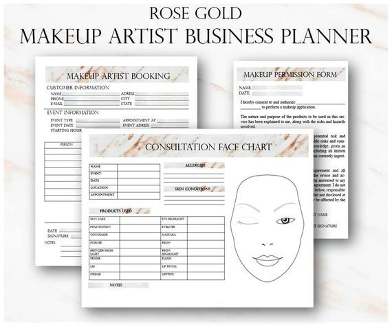 Printable Microblading Consent form New Rose Gold Make Up Künstler Business Planner Bundle Freiberuflicher Make Up Artist formen Make Up Buchung Hochzeit Make Up Artist Kontakt Vorlage