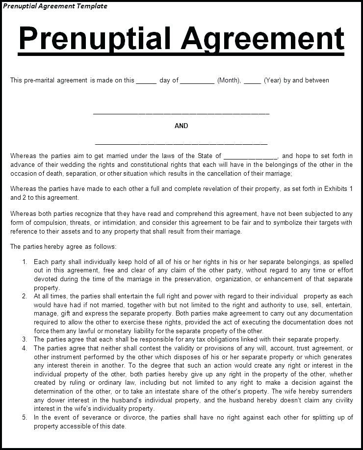 What is A Prenuptial Agreement Elegant Free Prenup Agreement form Prenuptial Agreement Template