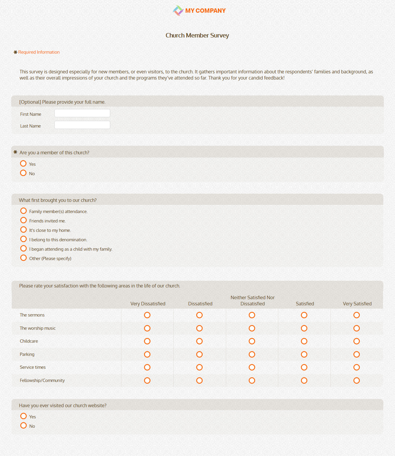 Church Security assessment form Awesome Church Member Survey Templates & Questions