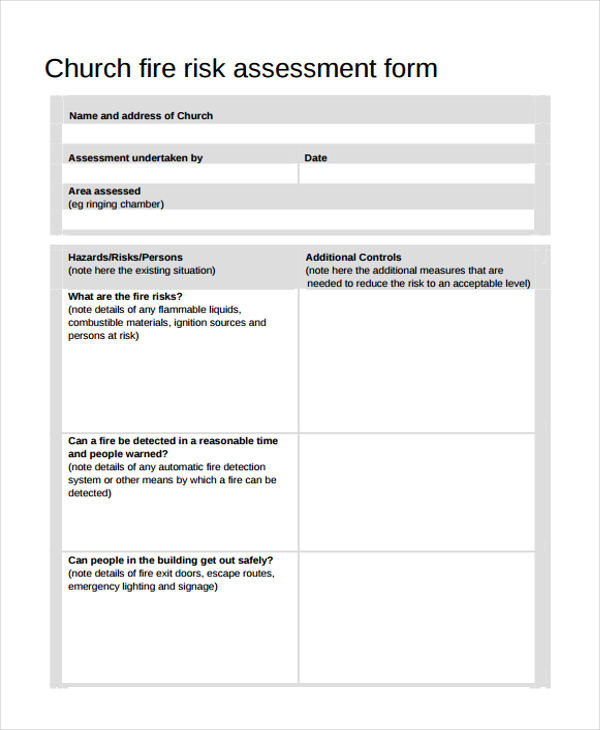 Church Security assessment form Best Of 23 Risk assessment form Examples