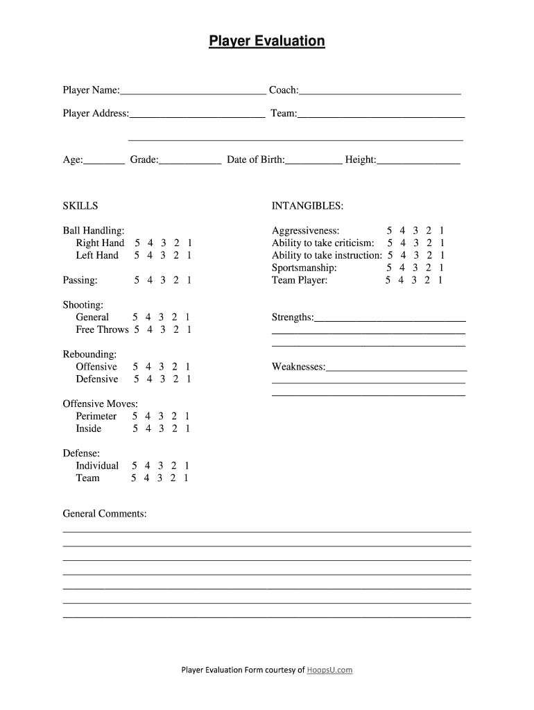 Church Security assessment form Inspirational Basketball Player Evaluation form Fill Line Printable