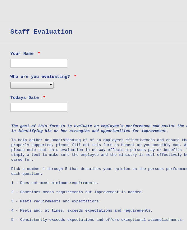 Church Security assessment form Inspirational Staff Evaluation form Template