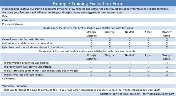 Church Security assessment form New Example Training Evaluation form Hr