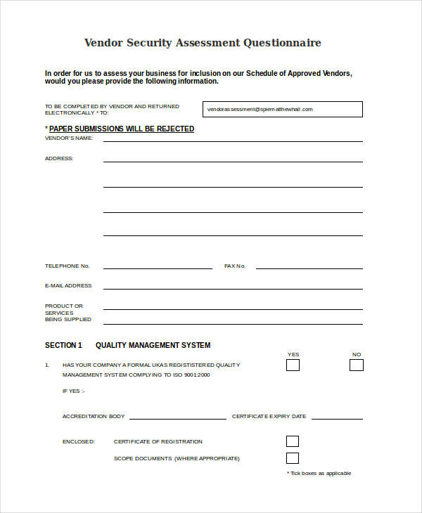 Church Security assessment form Unique Free 34 assessment Questionnaire Examples In Pdf
