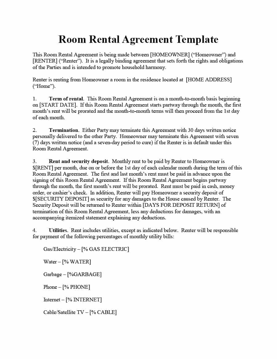 Lease Purchase Agreement form Georgia Unique 39 Simple Room Rental Agreement Templates Template Archive