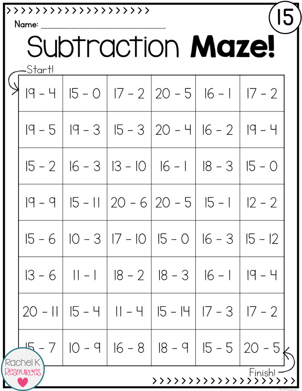 Subtraction Work Sheets Easy Subtraction Practice Mazes