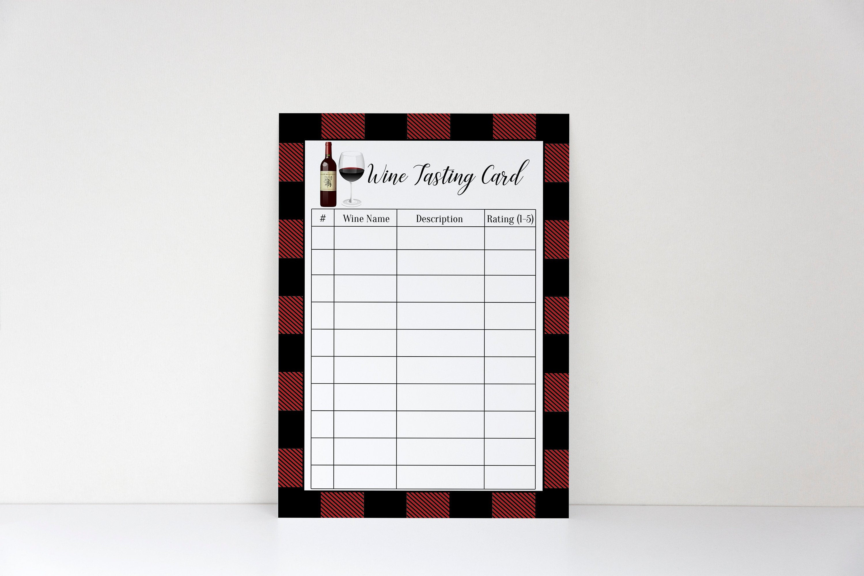 Wine Tasting Score Sheets Simple Buffalo Plaid Wine Tasting Scorecard Wine Tasting Party Wine Tasting Scorecard Score Card Score Sheet Scoring Card Wine Notes Instant
