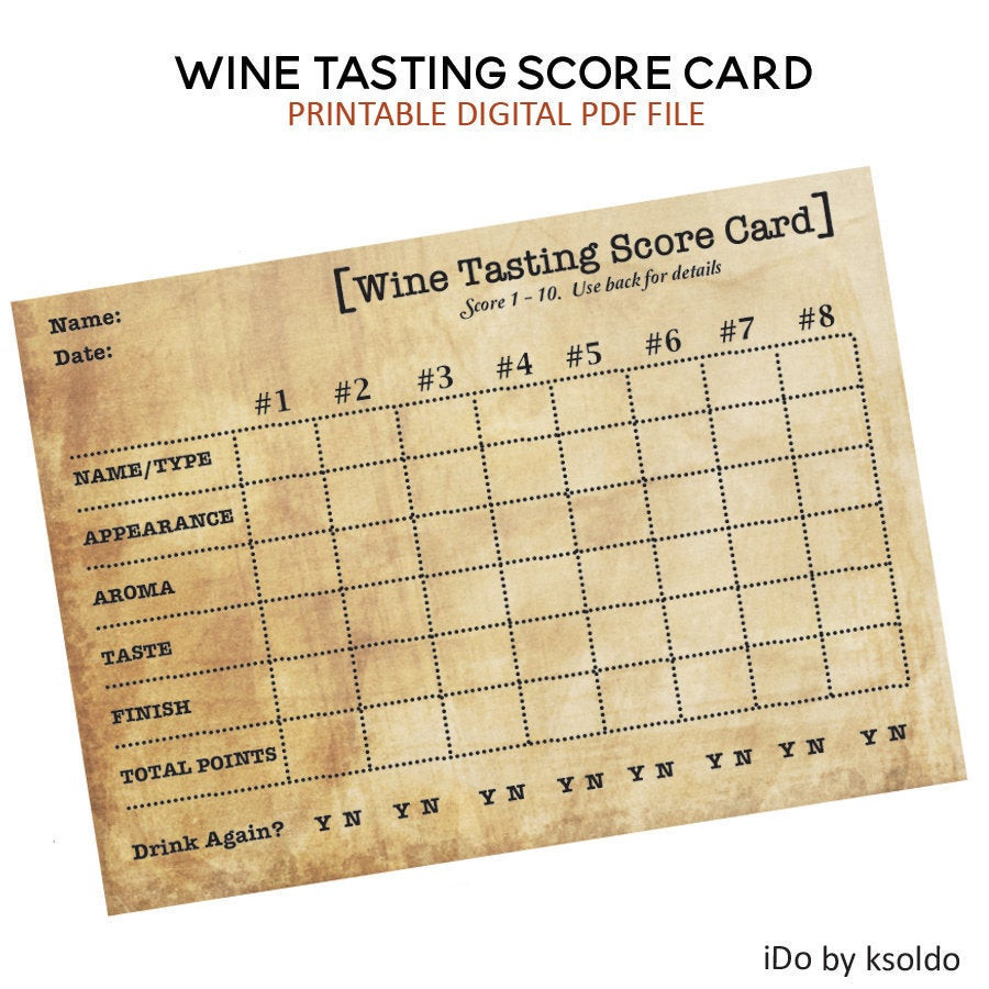 Wine Tasting Score Sheets top Wine Tasting Score Cards Wine Rating Cards Wine Tasting Party Wine Tasting Birthday Wine Notes Score Card Scorecard Printable